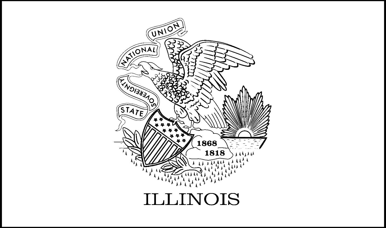 Download Illinois State Flag Line Drawings JPG