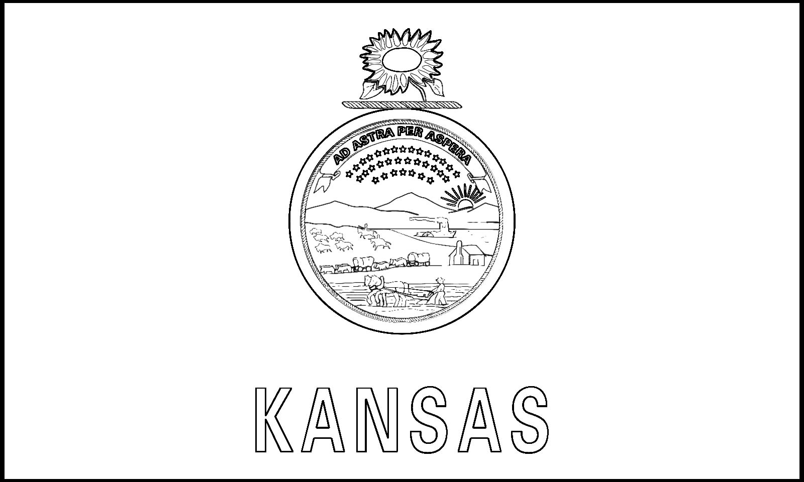 Download Kansas State Flag Line Drawings JPG