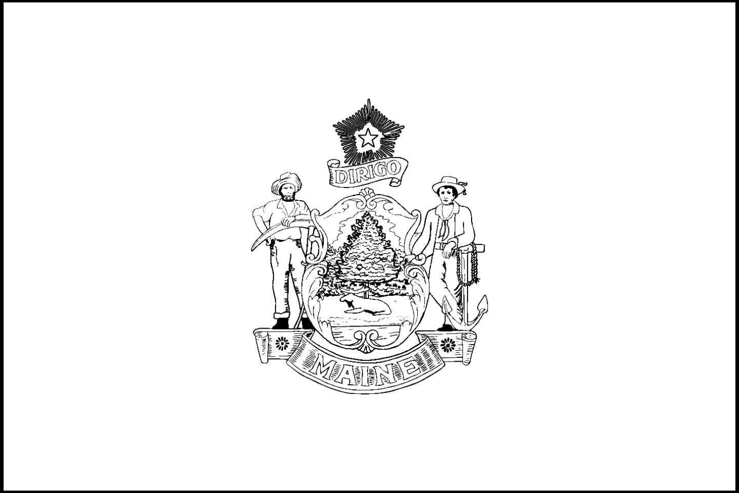 Maine State Flag Maine State Flag Coloring Page