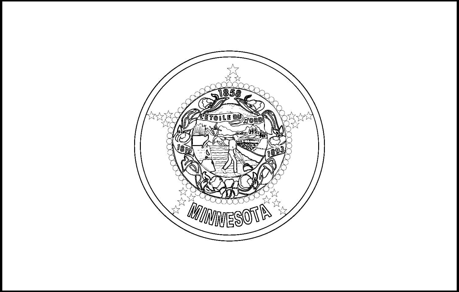 minnesota state flag coloring page - mn state flag coloring page coloring pages