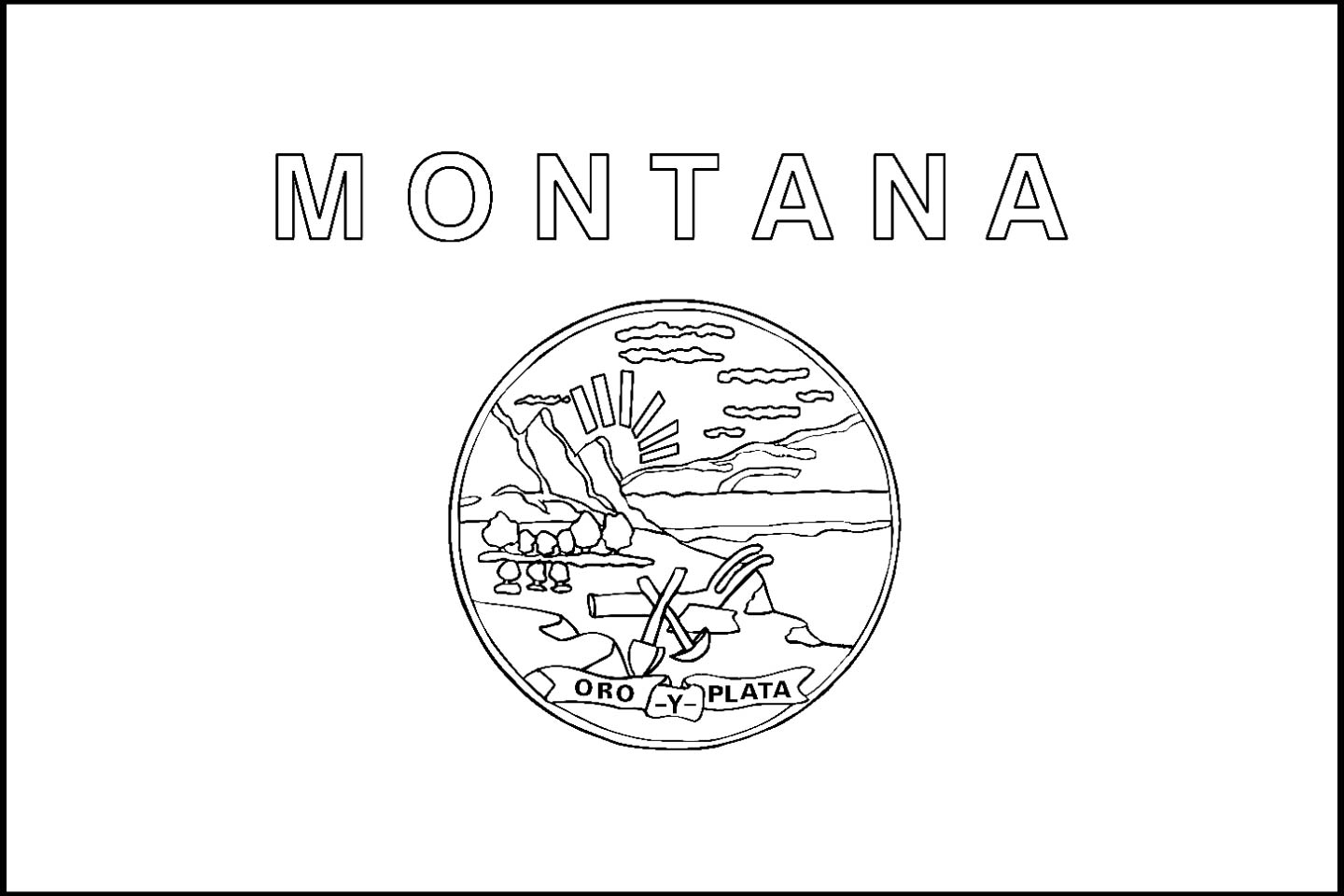 montana state coloring pages - montana state flag