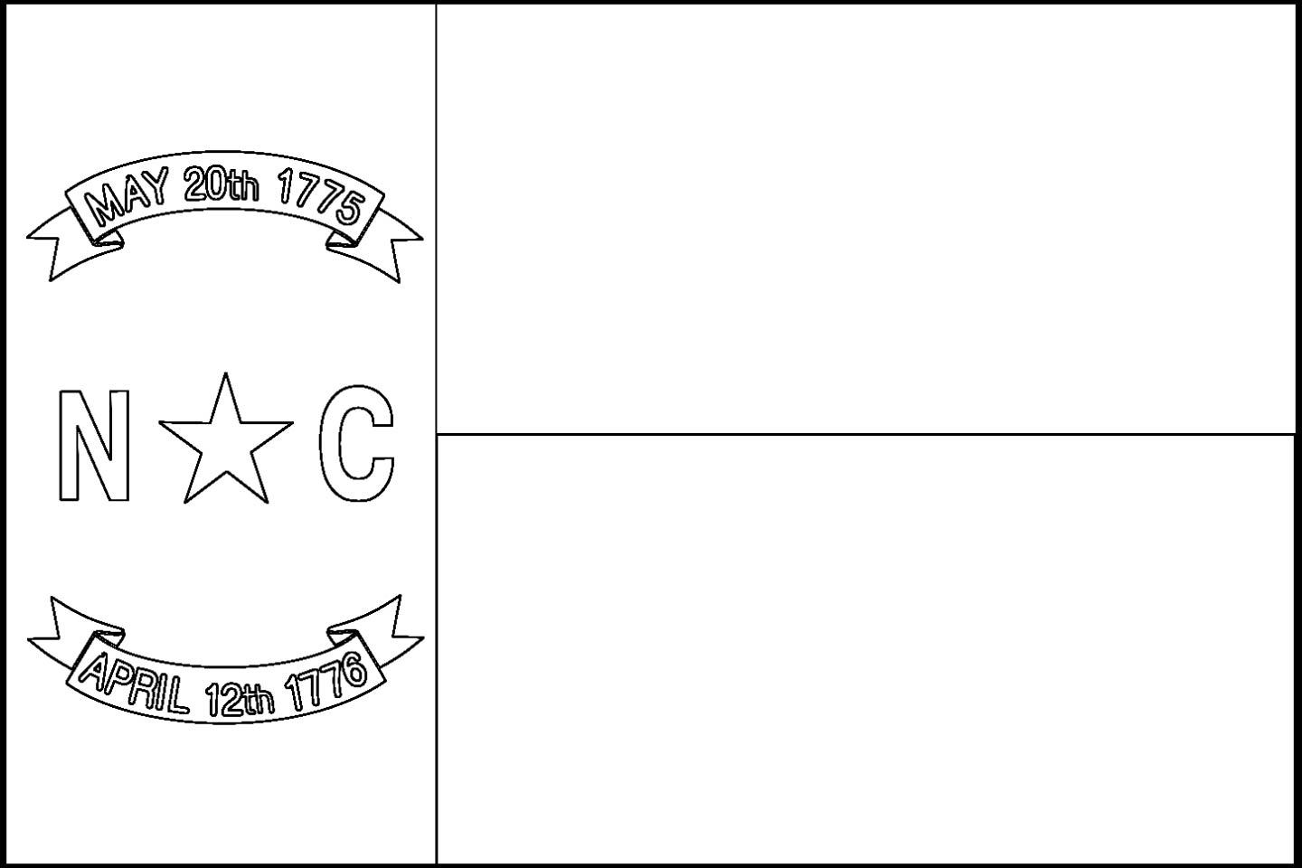 Download North Carolina State Flag Line Drawings JPG
