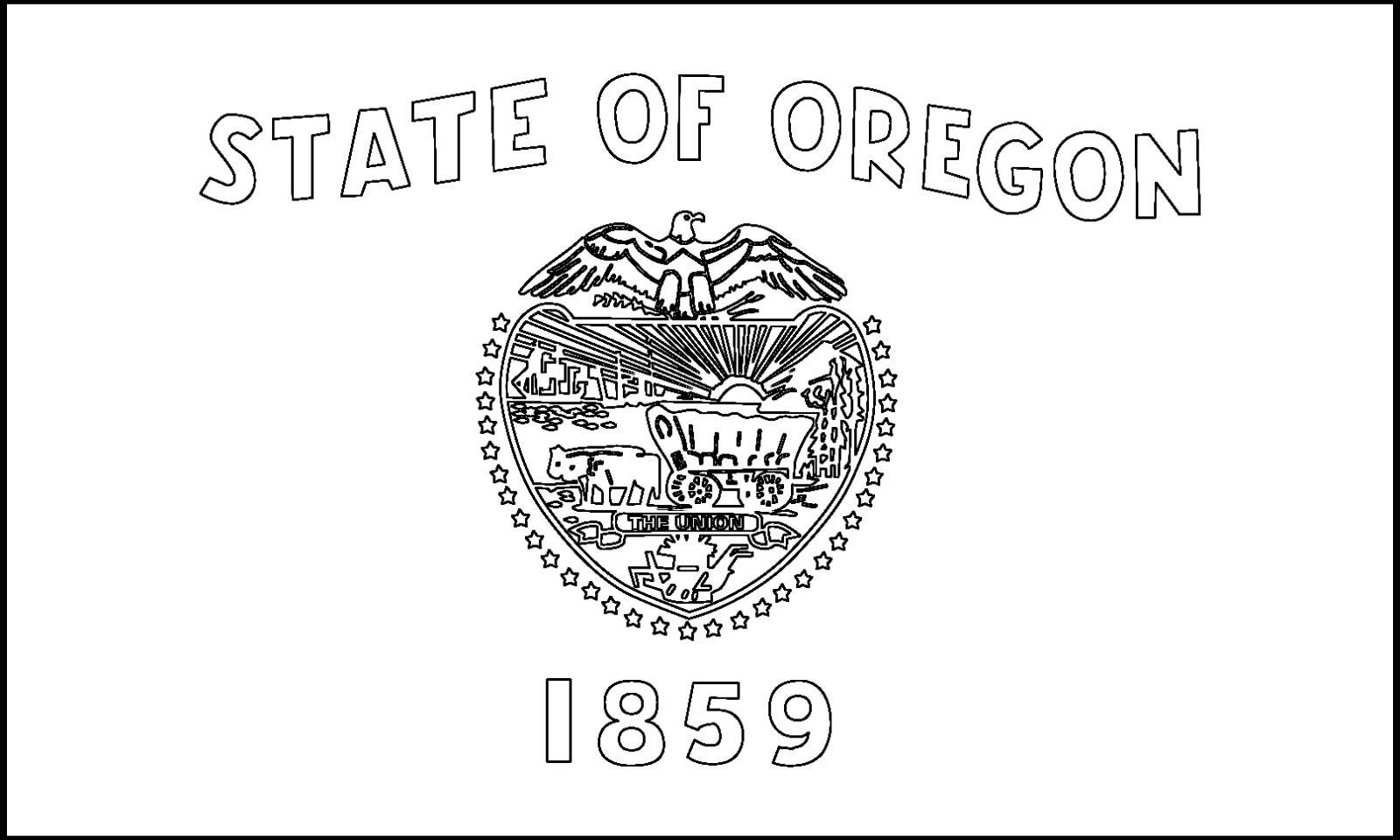 Download Oregon State Flag Line Drawings JPG